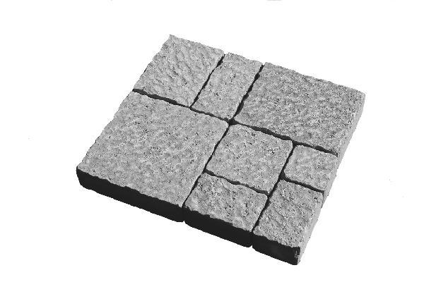 Pavé PROVENCAL martelé multiformat Ep.6cm gris nuancé