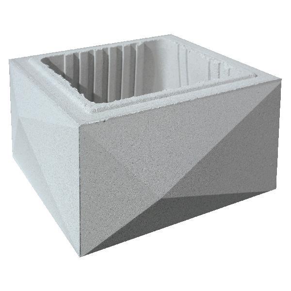 Elément de pilier béton TRIGONE gris 32x32x16,7cm