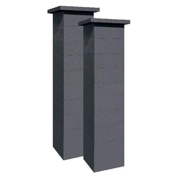 Kit 2 piliers béton platinium noir sans insert 39x39x172cm