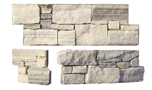 Parement quartzite sur ciment LEUVEN 20x60cm Ep.40-50mm blanc