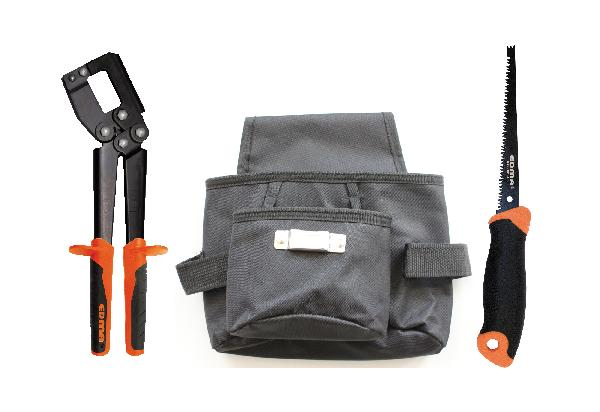 Pince à sertir + 1 scie à guichet + 1 poche à outils lot