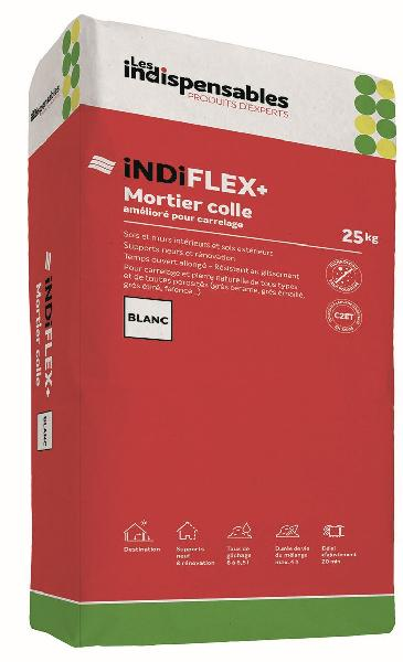 Mortier colle carrelage INDIFLEX+ blanc sac 25kg C2TE
