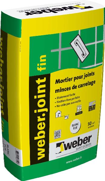 Mortier joint weber joint fin blanc pur sac 25kg for Weber cal joint prix