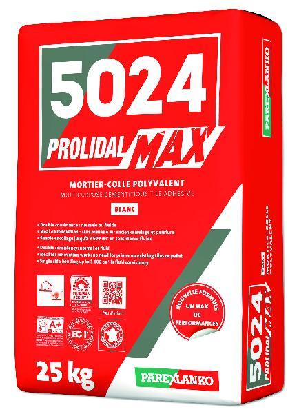 Mortier colle PROLIMAX+5024 blanc sans poussière sac 25kg