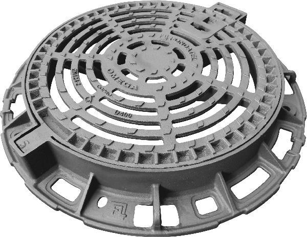 Grille fonte ronde plate OMEGA GR D400 Ø850-Ø600