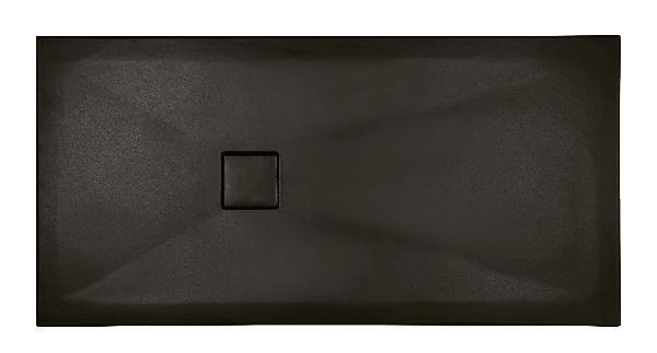 Receveur céramique PLUS+ TON 140x80cm Ep.3cm lisse noir mat