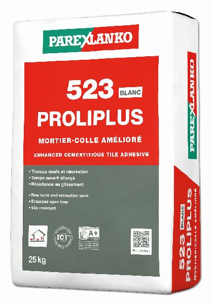 Mortier colle PROLIPLUS 523 blanc sac 25kg