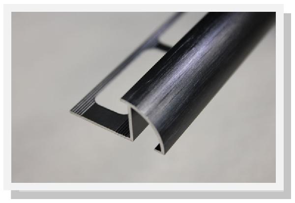 Profilé 1/4 de rond alu anodisé noir brossé 2,5m H.10mm