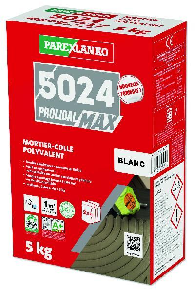 Mortier colle carrelage PROLIMAX+5024 blanc paquet 5kg C2 ET/EG