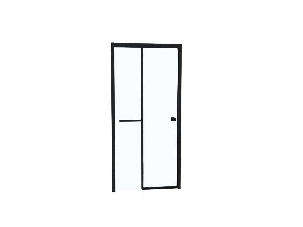 Porte douche TAHITI coulissante 100x200cm Ep.8mm noir mat