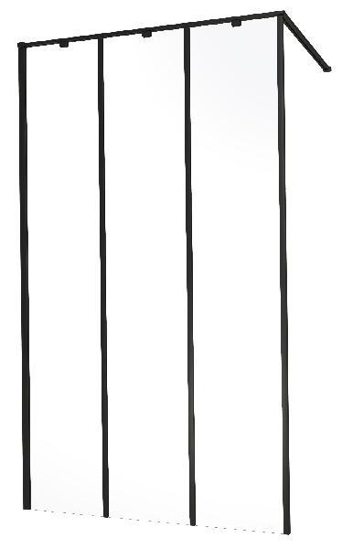 Paroi verrière WALK IN industrielle 100x205cm alu Ep.6mm noir mat