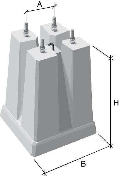 Massif candélabre GR4 Ø16 200x200mm mât 5-8m 180kg 45x45x65cm