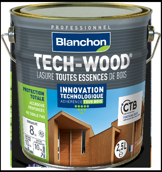 Lasure bois TECH-WOOD aspect satiné chêne moyen bidon 2,5L