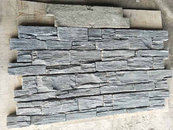 Parement ardoise sur ciment GJ027 agrafe 15x60cm Ep.25-35mm noire