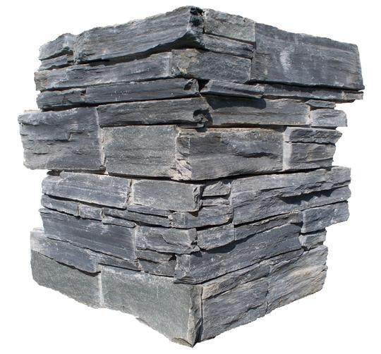 Chaine angle ardoise sur ciment GJ127 agrafe 15x60cm Ep.25-35mm noire
