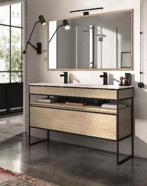 Meuble salle de bain TIG double vasque 120 bambou