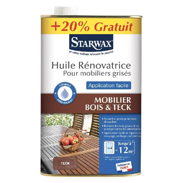 Huile rénovatrice pour teck STARWAX huilé brun teck 0,75 + 20%L