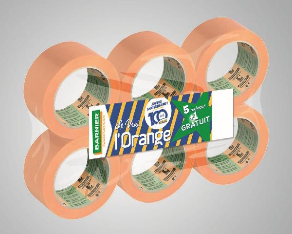 Adhésif L'ORANGE 6095 Ed.100 ANS 75mmx33m pack 6