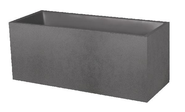 Jardinière BASALT 39,5x99,5cm H.43,5cm anthracite décor béton