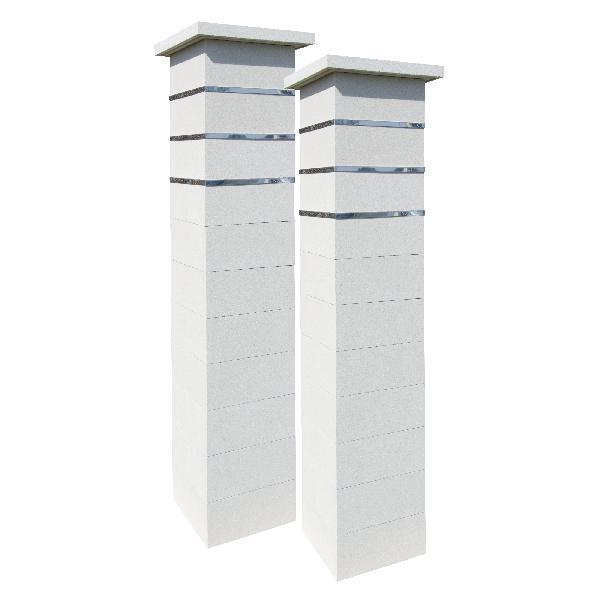 Kit 2 piliers STEEL'IN blanc cassé + 3 inserts 39x39x188,7cm