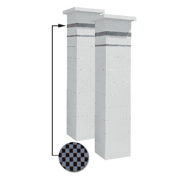 Kit 2 piliers PLATINUM blanc cassé + 2 inserts aspect damier 188cm