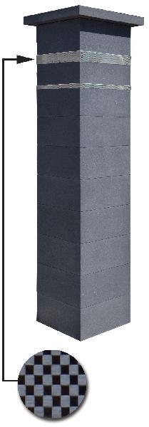 Kit 2 piliers PLATINUM dark + 2 inserts aspect damier 188,7cm