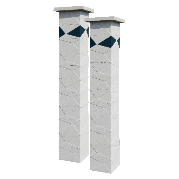 Kit 2 piliers PRISME blanc cassé + 4 inserts gris anthracite 29x29x188cm