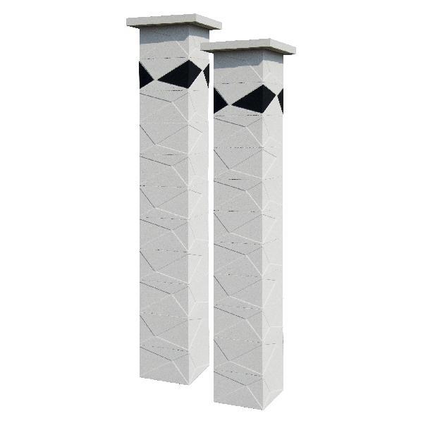 Kit 2 piliers PRISME blanc cassé + 4 inserts noir 29x29x188cm