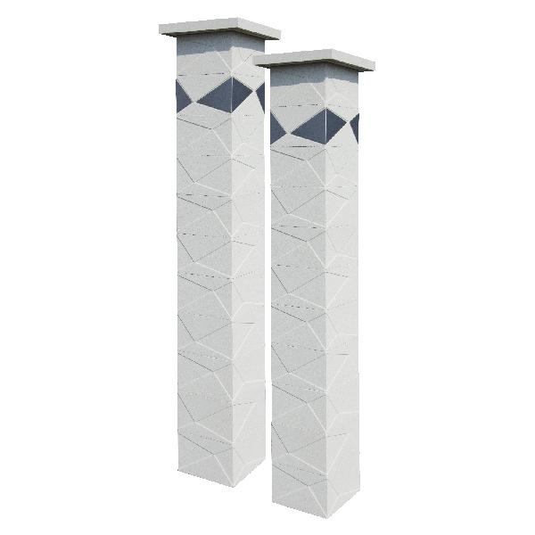 Kit 2 piliers PRISME blanc cassé + 4 inserts inox 29x29x188cm