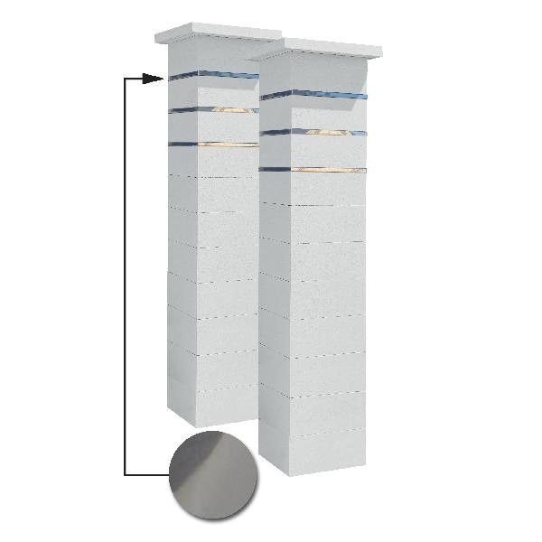 Kit 2 piliers PLATINUM blanc cassé + 3 inserts lisse 39x39x187,7cm