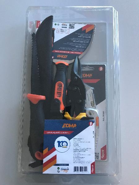 Scie à guichet SPECIAL 100 ANS + cisaille + couteau américain 15cm lot