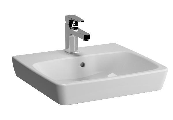 Lavabo METROPOLE avec trou de trop plein blanc 50 x16cm x46cm