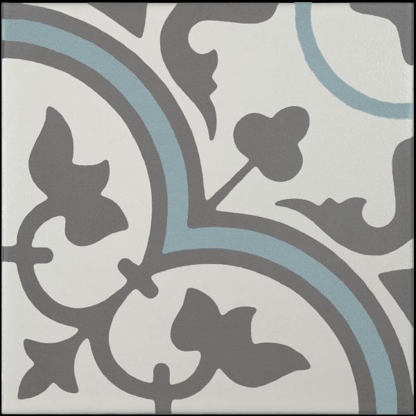 Carreau ciment blanc cassé / gris foncé / bleu 20x20cm EP.11mm