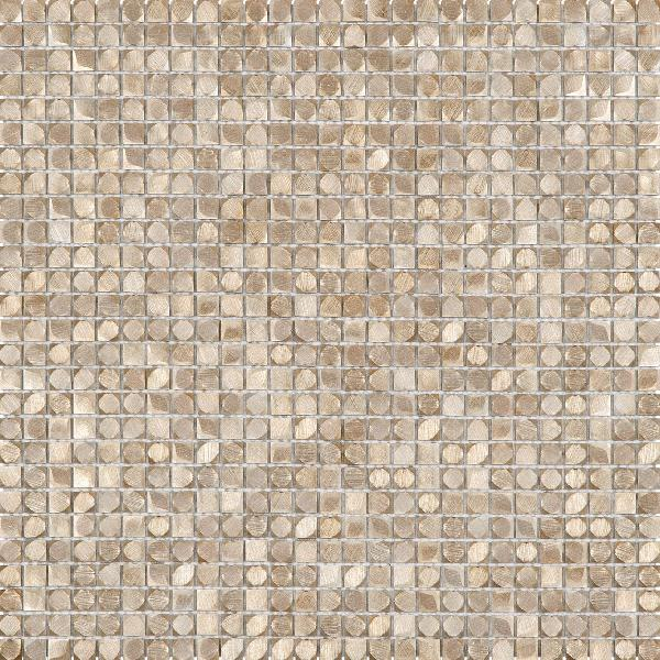 Mosaïque 1x1cm 3D alu gris or plaque 30,5x30,5cm Ep.3,3mm