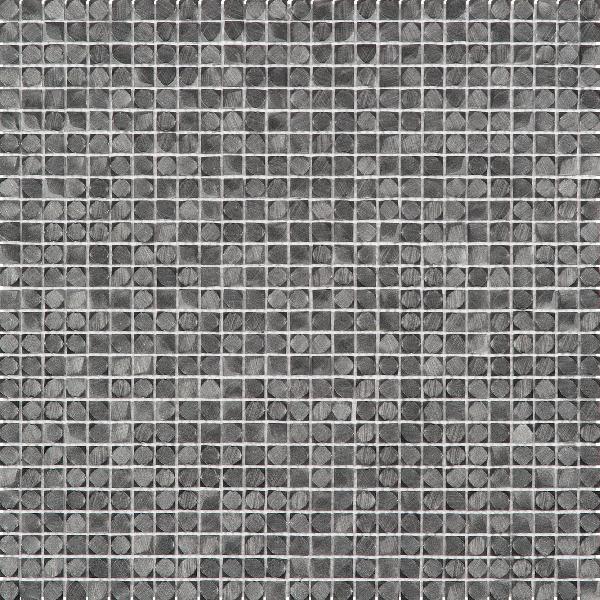 Mosaïque 1x1cm 3D alu gris noir plaque 30,5x30,5cm Ep.3,3mm