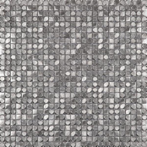 Mosaïque 1x1cm 3D alu gris argent plaque 30,5x30,5cm Ep.3,3mm