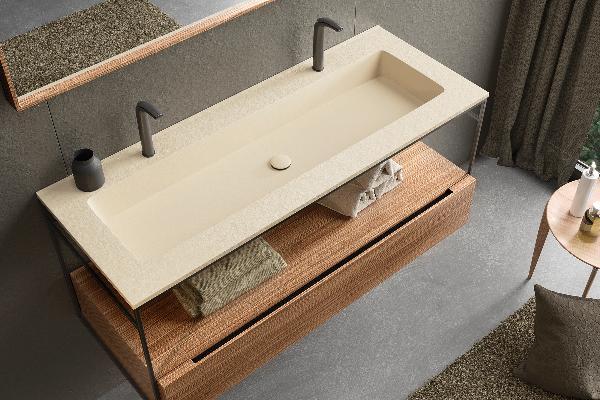 Plan vasque INTEGRA SLATE 120XL beige 120,3x46,5x1,3cm
