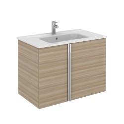 Meuble salle de bain Ep.16mm ONIX 2 tiroirs noyé sable 99,5x56,5x45cm