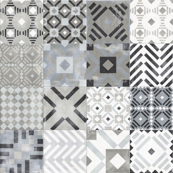 carrelage décor PLAY labyrinth mix grey clay 20x20cm Ep.8,5mm