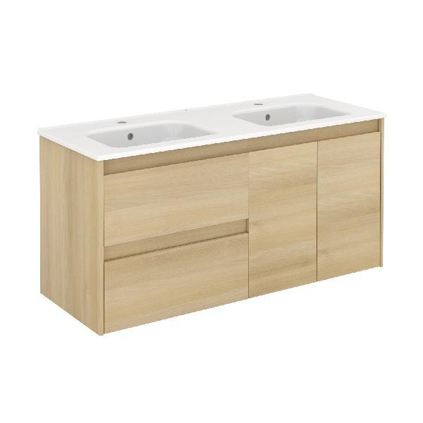 Meuble salle de bain 1 porte et 2 tiroirs ALFA chêne 119,5x56,5x45cm