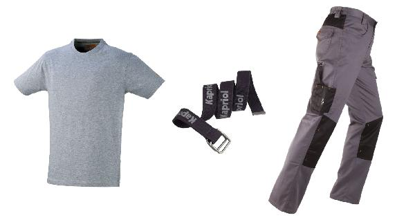 Pantalon + tee-shirt + ceinture gris T.L