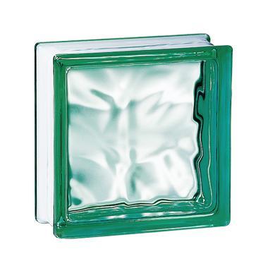 Brique de verre 198 nuagée verte 19x19x8cm