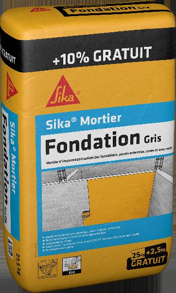 Enduit imperméabilisation SIKA MORTIER FONDATION gris sac 25kg +10%