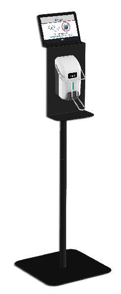 Station desinfection mains avec distributeur savon à palette noir
