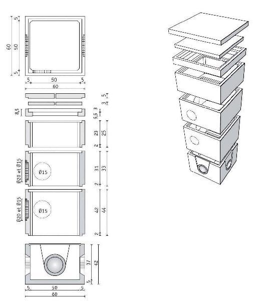 Réhausse béton 50x50-60x60 H.int.44 sans opercules