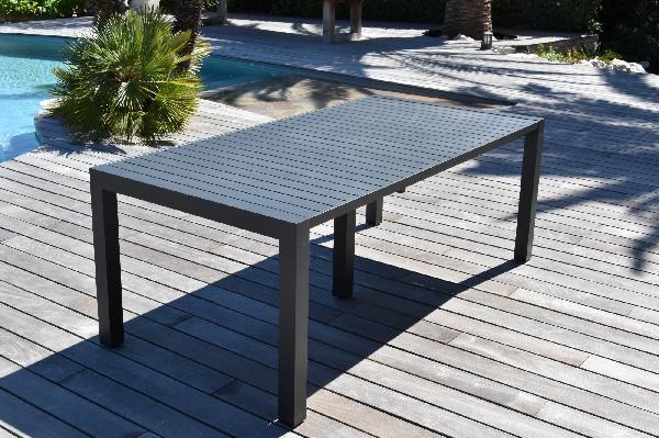 Table aluminium de jardin PRIMEVERE gris 200/260/300 x100cm
