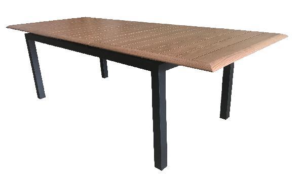 Table aluminium de jardin LOUISIANE bois 187/247 x100cm
