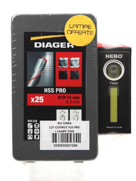 Foret métallique Ø1 à 13mm HSS coffret 25 + lampe led tino offerte