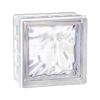 Brique de verre CUBIVER 2 nuagée incolore 19,8x19,8x8cm