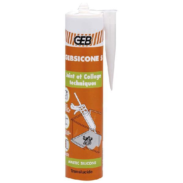 Mastic colle GEBSICONE S silicone translucide cartouche 310ml
